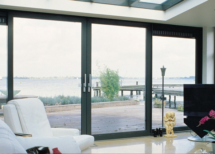 Grey aluminium sliding patio doors