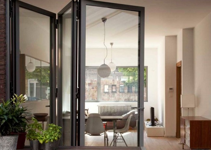 Grey sliding folding doors