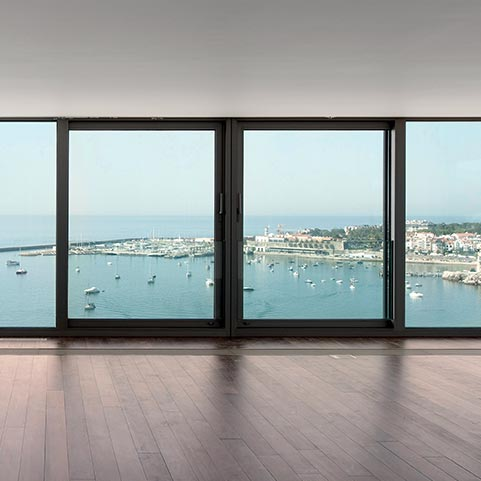 Aluminium patio door overlooking the sea