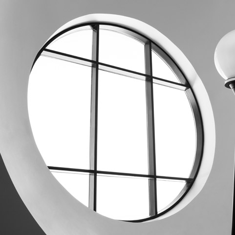 Curved, circular aluminium window frames