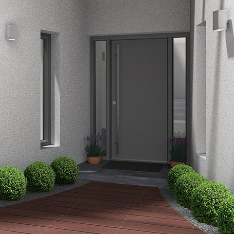 Grey solid aluminium entrance door